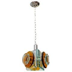 Fontana Arte Murano Glass and Chrome Pendant Chandelier Vintage, Italian