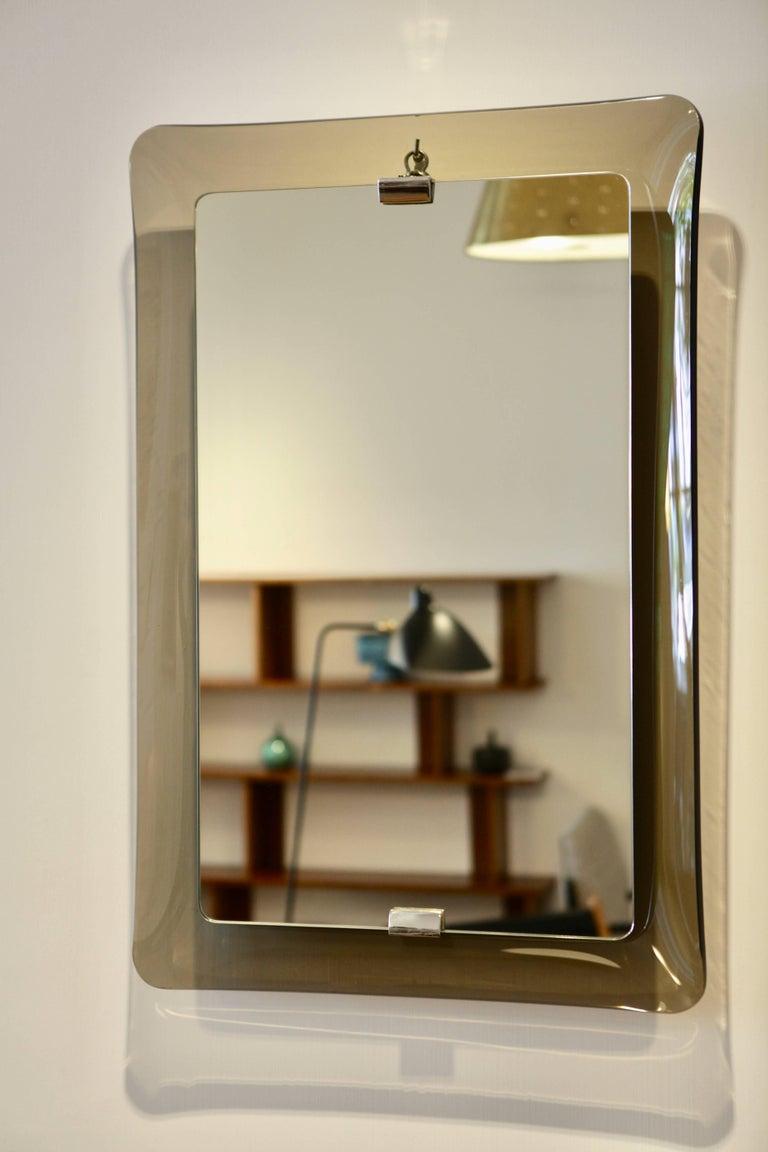 fontana arte rectangular glass framed mirror for sale at 1stdibs. Black Bedroom Furniture Sets. Home Design Ideas