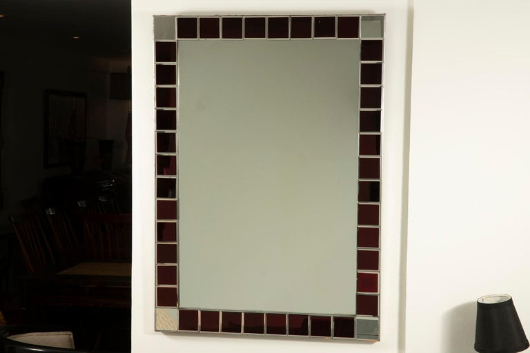 Fontana Arte Red Tiled Wall Mirror In Good Condition For Sale In Los Angeles, CA