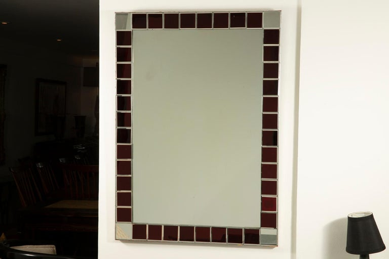 20th Century Fontana Arte Red Tiled Wall Mirror For Sale