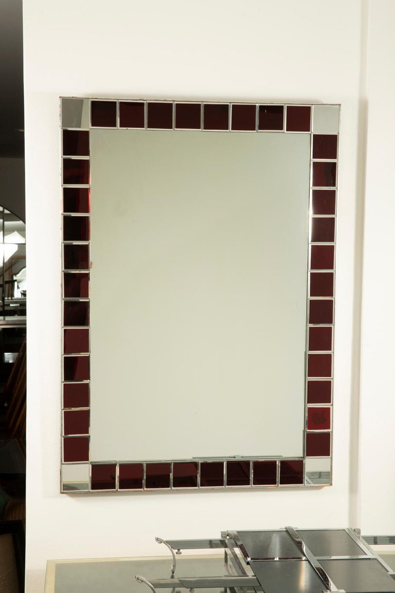 Fontana Arte Red Tiled Wall Mirror For Sale 1