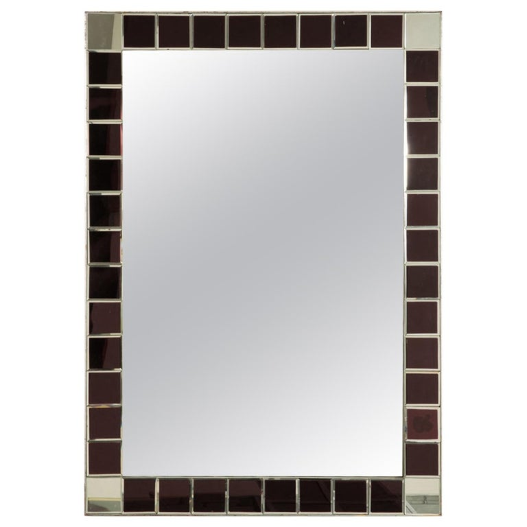 Fontana Arte Red Tiled Wall Mirror For Sale