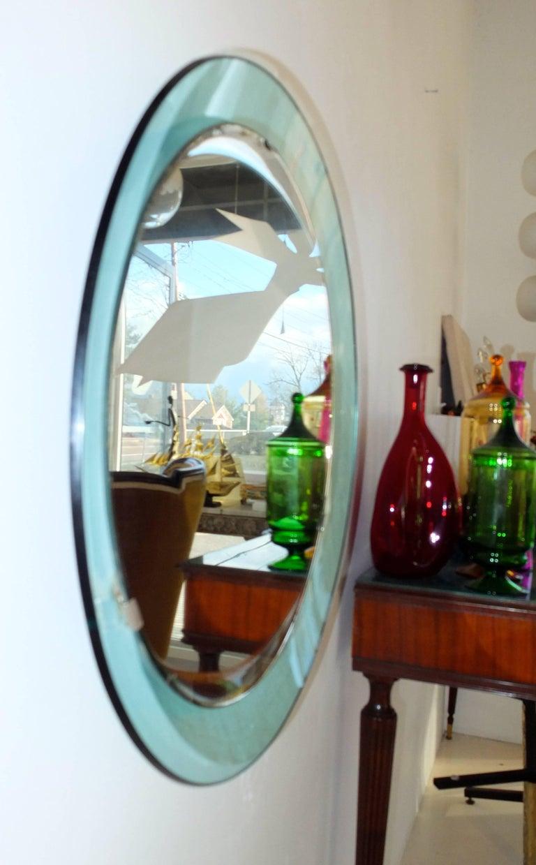 Mid-Century Modern Fontana Arte Round Mirror For Sale