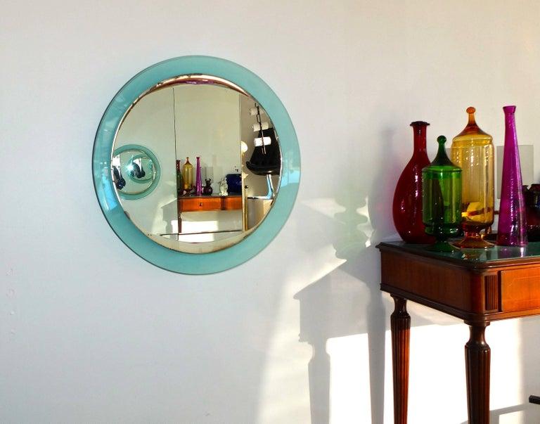 Italian Fontana Arte Round Mirror For Sale