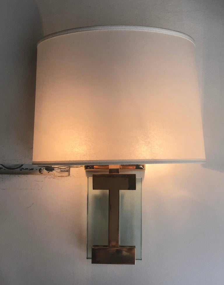 Fontana Arte Sconces Brass, Glass, Fabric Lampshade 1960 Italy In Excellent Condition For Sale In Milano, IT