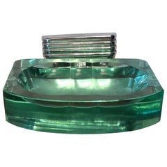 Fontana Arte Soap Dish Glass Chrome-Plated Brass, 1940, Italy