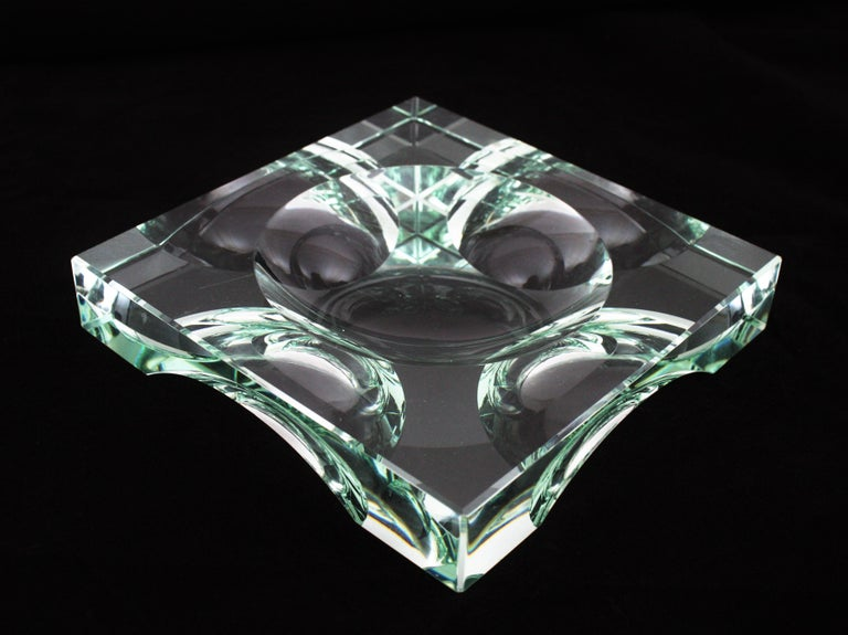 Mid-Century Modern Fontana Arte Squared Glass Ashtray / Vide-Poche / Dish, Italy, 1950s For Sale