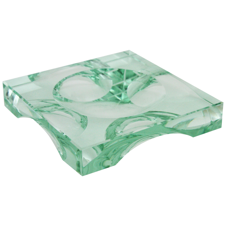Fontana Arte Squared Glass Ashtray / Vide-Poche / Dish, Italy, 1950s