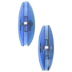 Fontana Arte Style Blue Beveled Glass 2-Light Wall Sconce Italy 1960, Pair