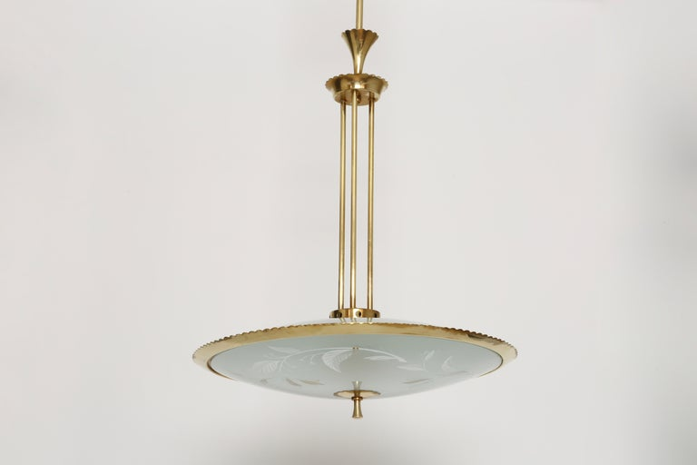 Fontana Arte style ceiling pendant In Good Condition For Sale In New York, NY