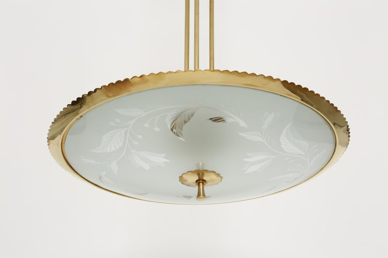 Mid-20th Century Fontana Arte style ceiling pendant For Sale