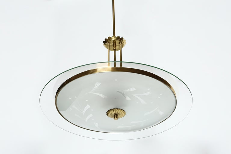 Fontana Arte Style Chandelier In Good Condition For Sale In New York, NY