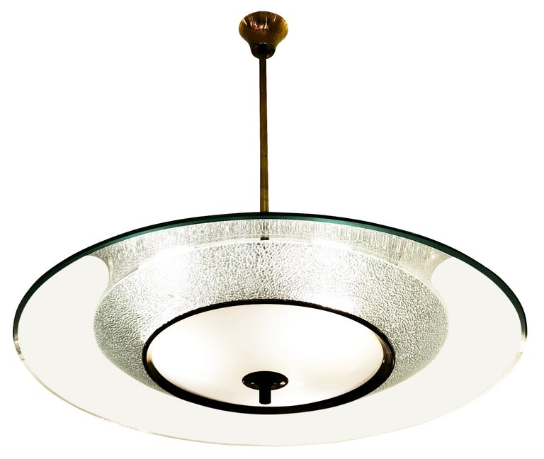Mid-Century Modern Fontana Arte Style Chandelier, Italy, 1960s For Sale