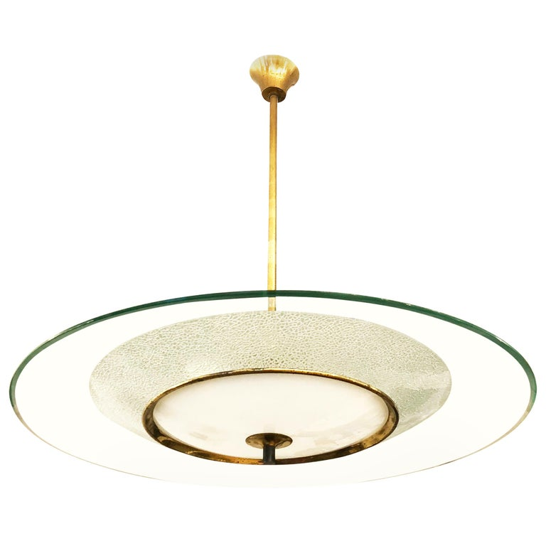 Fontana Arte Style Chandelier, Italy, 1960s For Sale