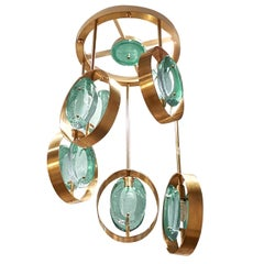Fontana Arte Style Five Torchiere Blue / Green Murano Glass and Brass Chandelier