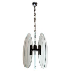 Fontana Arte Style Italian Vintage Chandelier Tempered Glass Nickel Plated Brass