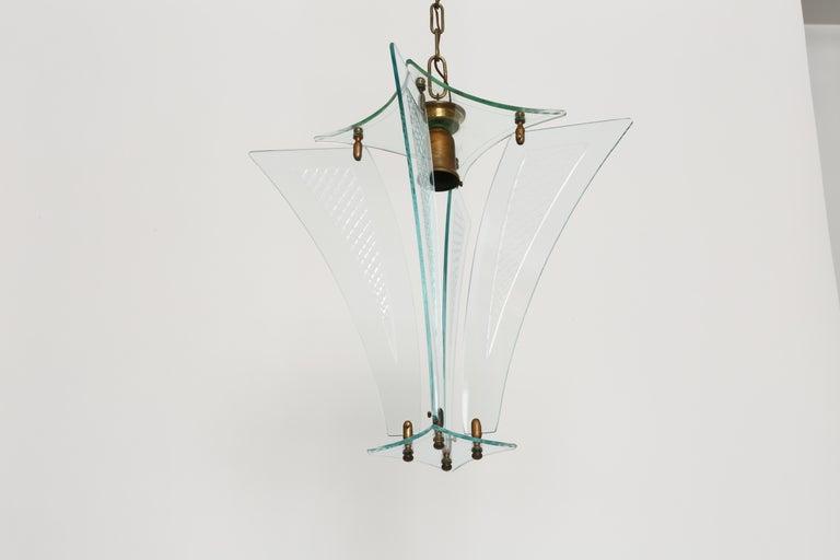 Beveled Fontana Arte style lantern For Sale