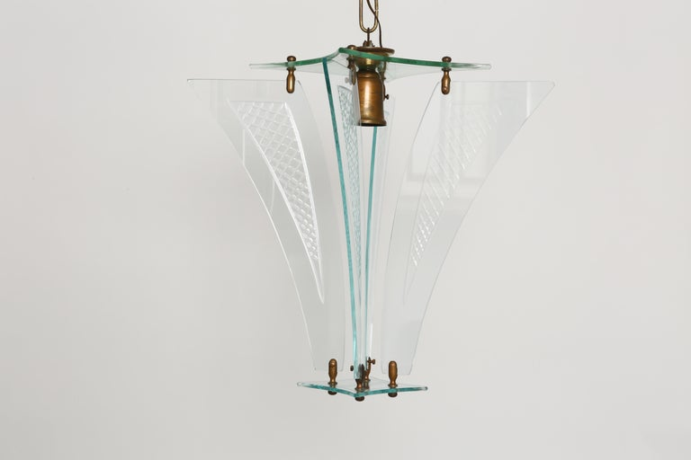 Fontana Arte style lantern In Good Condition For Sale In New York, NY