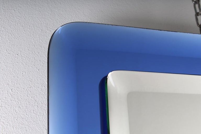 Mid-Century Modern Fontana Arte Mid-Century Rectangular Blue Glass Wall Mirror, Italy, 1960s For Sale