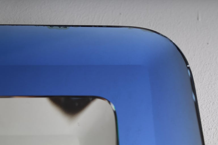 Mid-20th Century Fontana Arte Mid-Century Rectangular Blue Glass Wall Mirror, Italy, 1960s For Sale