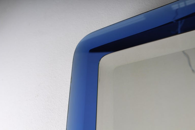 Fontana Arte Mid-Century Rectangular Blue Glass Wall Mirror, Italy, 1960s For Sale 1