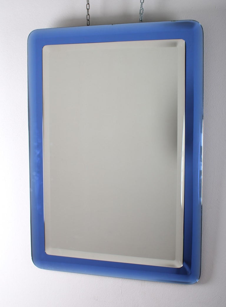 Fontana Arte Mid-Century Rectangular Blue Glass Wall Mirror, Italy, 1960s For Sale 2