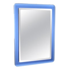 Fontana Arte Style Midcentury Rectangular Blue Glass Wall Mirror, Italy, 1970s