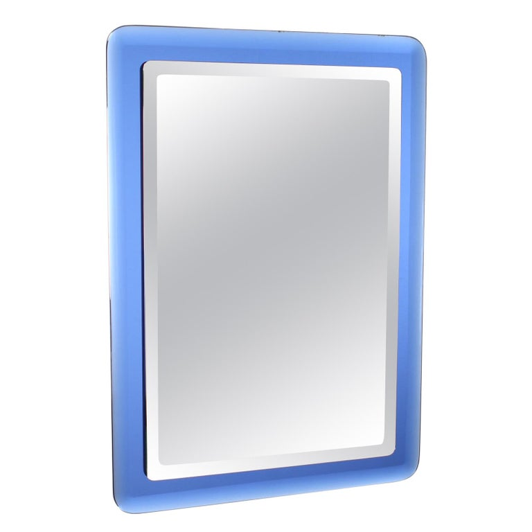 Fontana Arte Mid-Century Rectangular Blue Glass Wall Mirror, Italy, 1960s For Sale