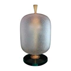 Fontana Arte Style Murano Glass Shade Table or Nightstand Lamp, Italy, 1950s