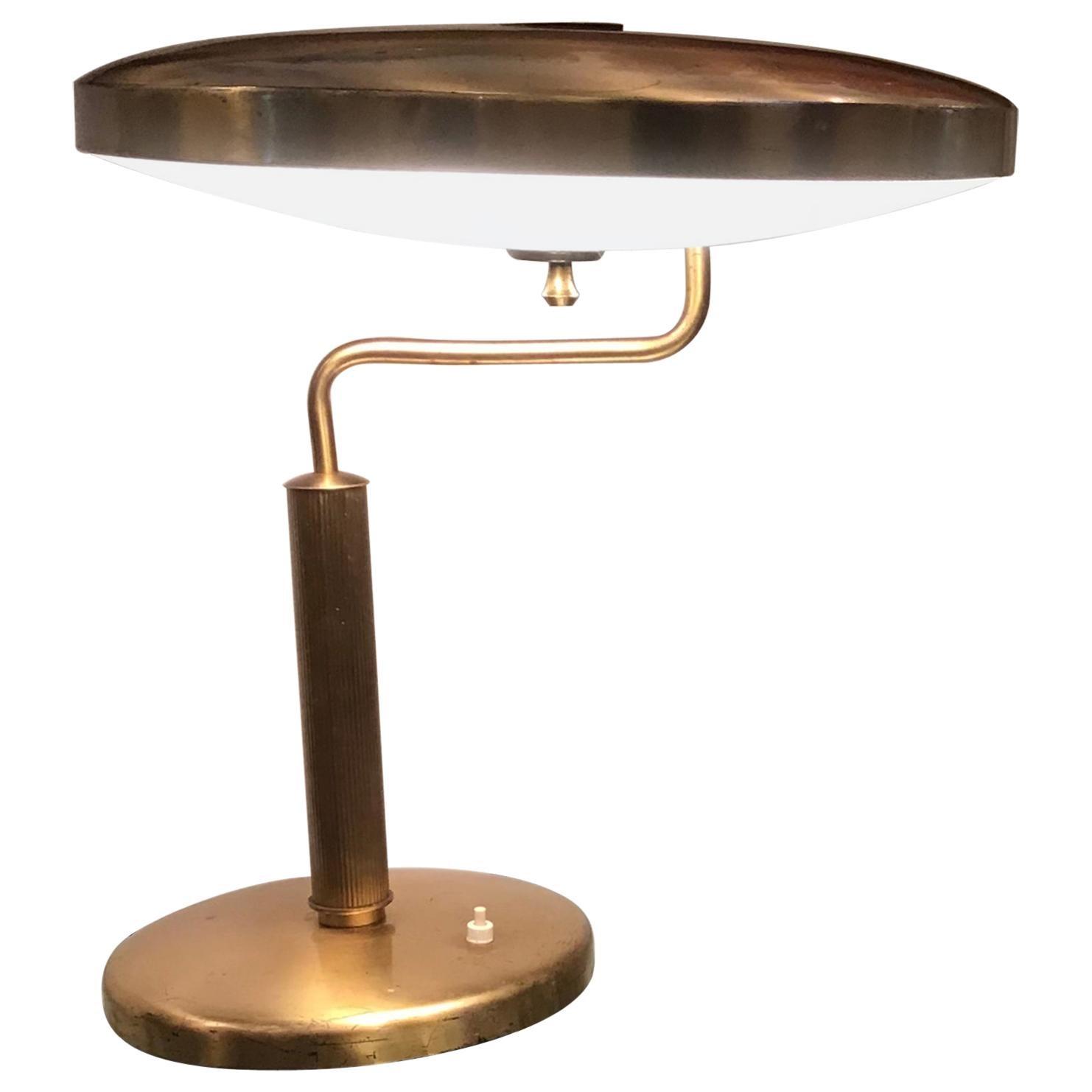 Fontana Arte Table Lamp Brass Glass, 1950, Italy