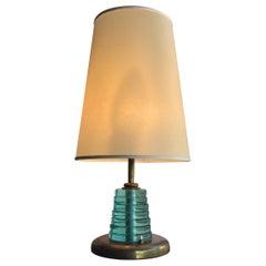 Fontana Arte Table Lamp Brass Glass Pergamena, 1950, Italy