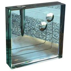 Fontana Arte Vase Glass metal 1950 Italy