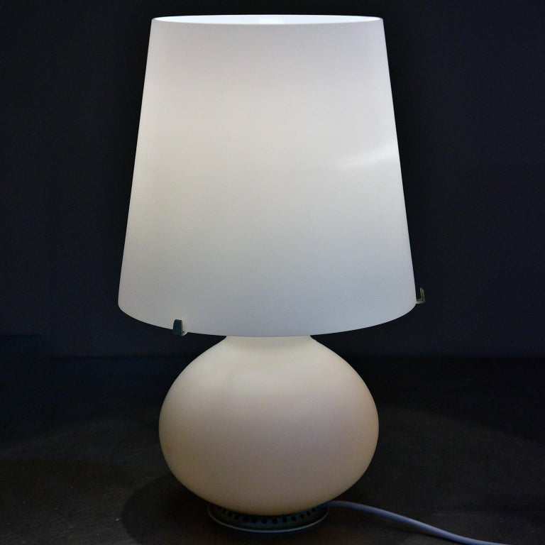Art Glass Fontana Arte White Satin Finish All Glass Lamp and Shade For Sale
