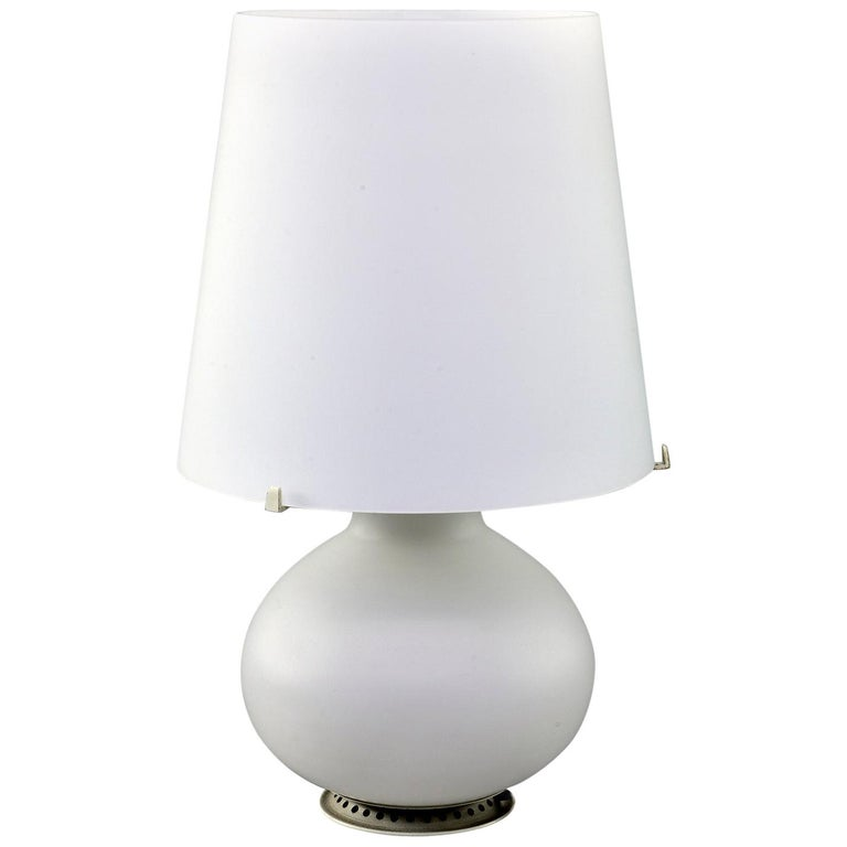Fontana Arte White Satin Finish All Glass Lamp and Shade For Sale