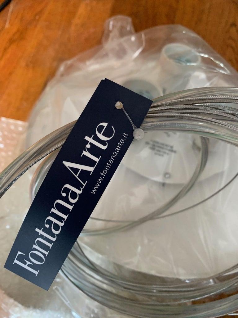 Metal Fontana Arte Wig Pendant Chandelier, Modern, White, Italian Light Fixture, 2000s For Sale