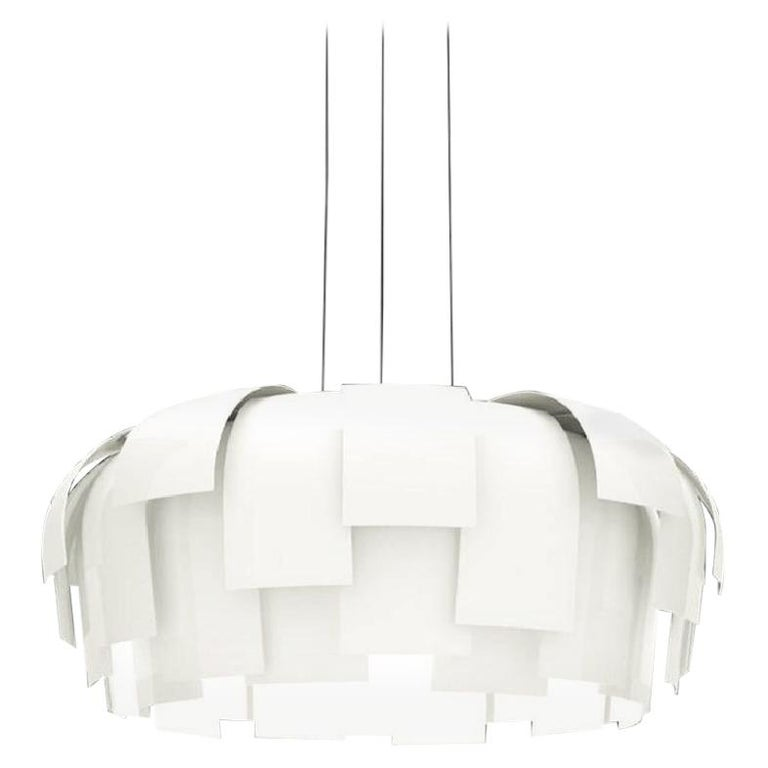 Fontana Arte Wig Pendant Chandelier, Modern, White, Italian Light Fixture, 2000s For Sale