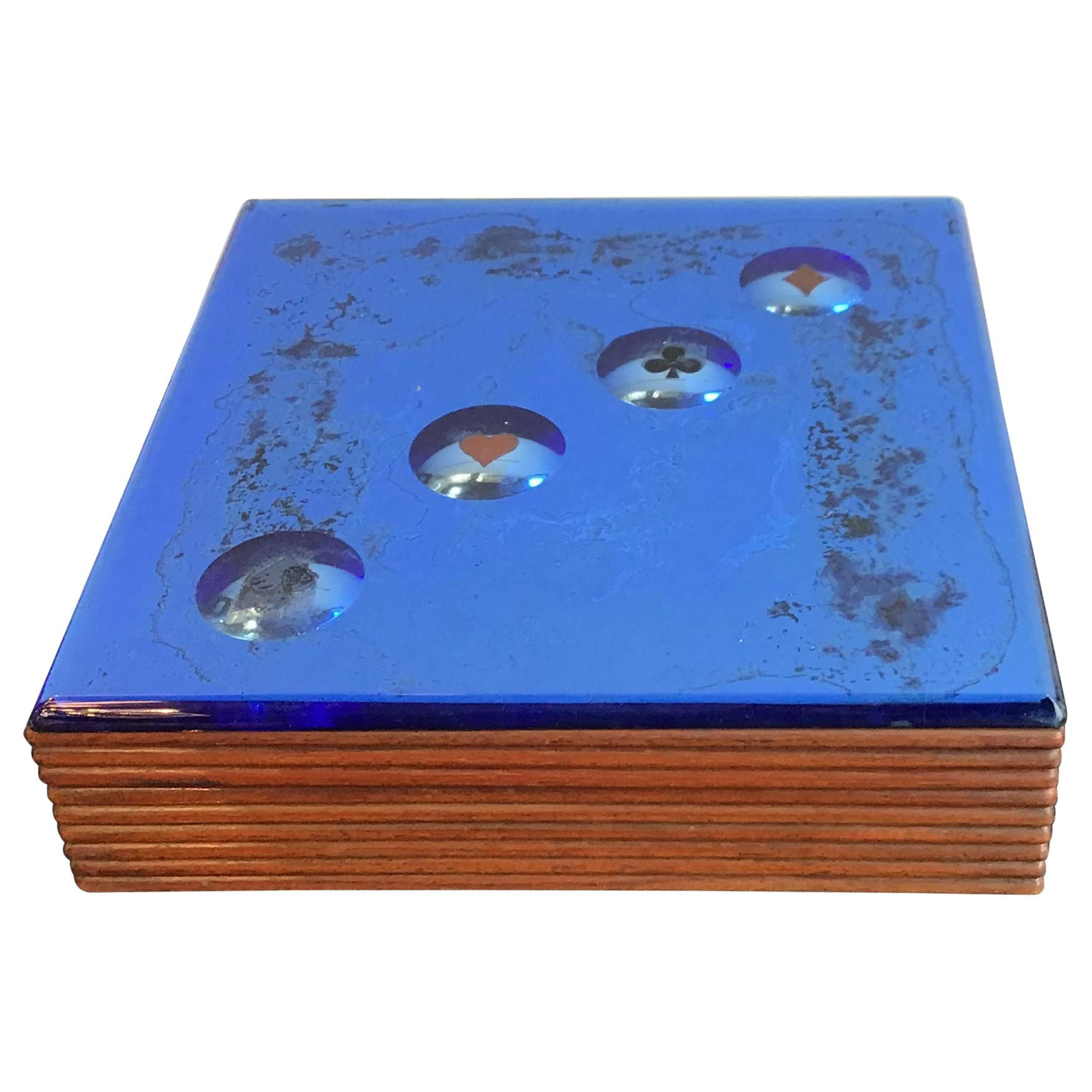 Fontana Arte Blue Mirrored Glass and Wood Game Box, 1950, Italy