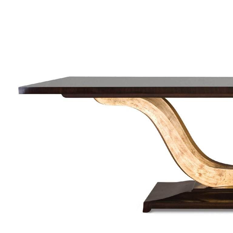 Dining table Fontana with structure in solid mahogany wood