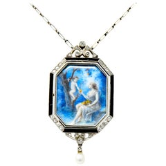 Fontana Fres Paris Belle Époque Diamond Onyx Crystal 18 Karat Gold Necklace