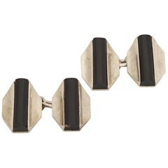 Fontana, Pair of 18 Karat Gold and Onyx Art Deco Cufflinks, circa 1930