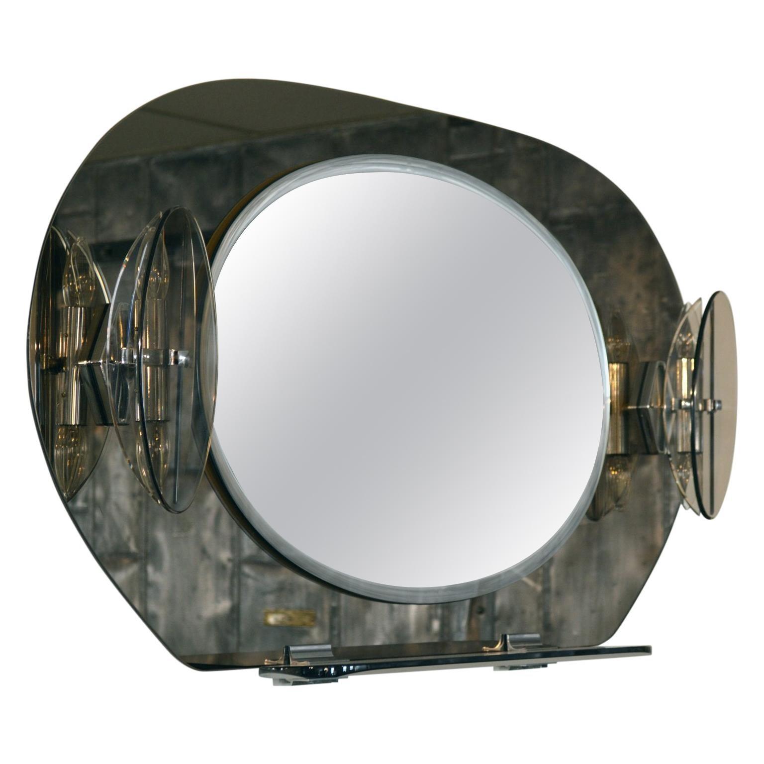 Fontana Arte Smoked Glass Lighted Vanity Mirror with shelves