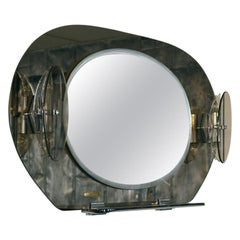 Fontana Arte Smoked Glass Lighted Vanity Mirror with shelves