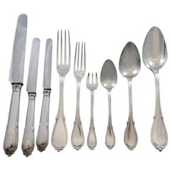 Fontenelle by Odiot France Sterling Silver Flatware Set Service 105 Pcs Dinner