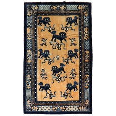 Foo Dog Pictorial Chinese 20th Century Wool Rug