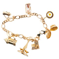 Food Wine Motif Yellow Gold Charm Bracelet