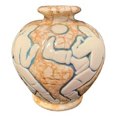 """Football 'Soccer',"" Rare Art Deco Vase by André Legrand for Mougin Pottery"
