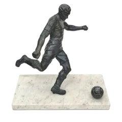 Footballist Sculpture on Marble Base, 1930s