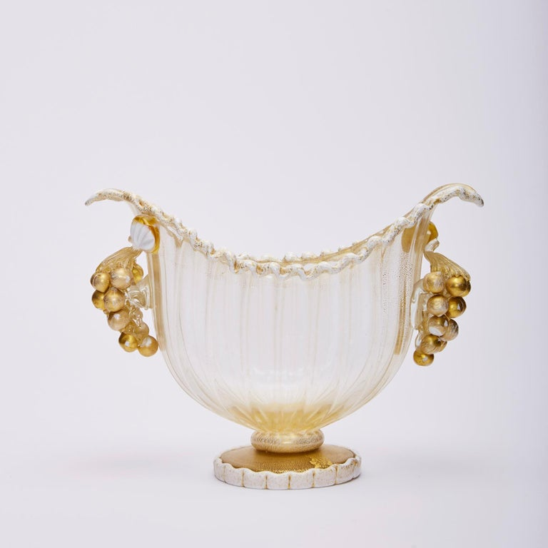 Mid-20th Century Footed Bowl Gold Leaf & Grapes, Ercole Barovier for Barovier, Toso & Co 1949 For Sale