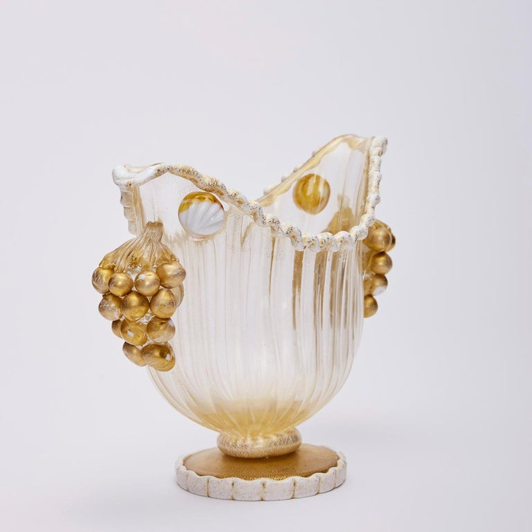 Art Glass Footed Bowl Gold Leaf & Grapes, Ercole Barovier for Barovier, Toso & Co 1949 For Sale