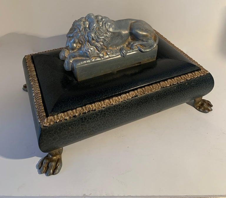 Aluminum Footer Letter Box with Reclining Lion For Sale